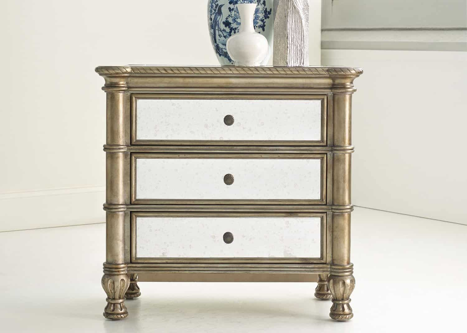 Sutherland Mirrored Nightstand Mobilart Decor High End Furniture Store In Montreal