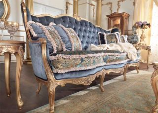 Sofa, Mobilart, Decor, Montreal, Furniture Store, High End, Italian Furniture, Made in Italy, Traditional, Gold leaf, Hand Made, European Furniture, European