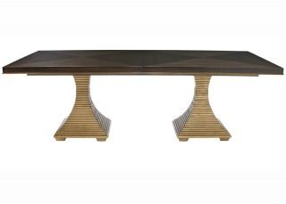 contemporary double pedestal table