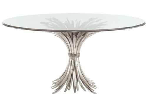 round silver glass dining table