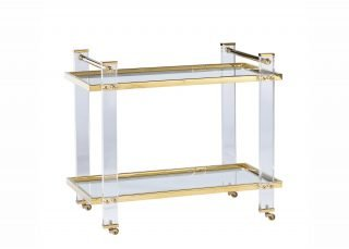 Acrylic and brass bar cart