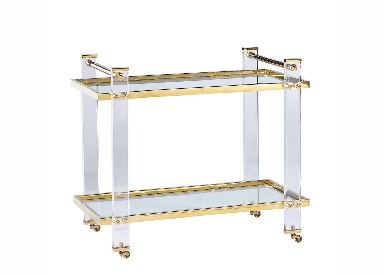 Acrylic and brass bar cart
