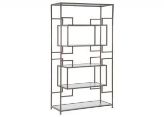 large metal and glass display shelves