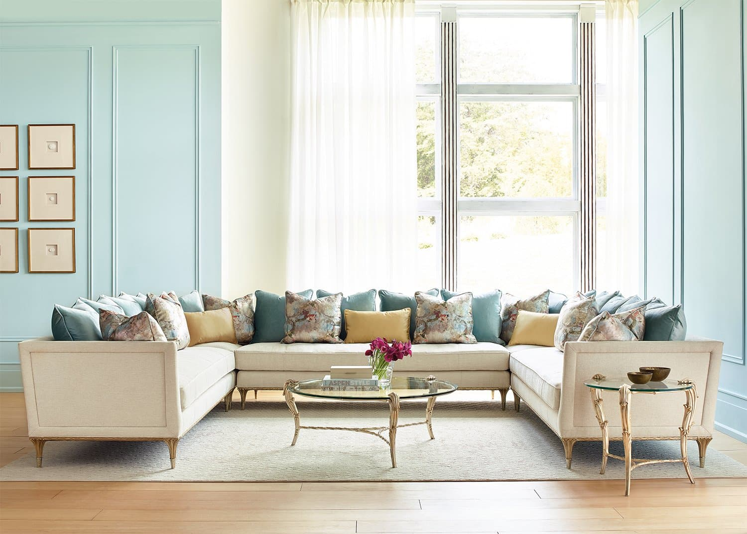 Champagne sectional sofa