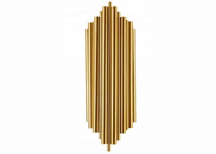 tubular gold steel wall sconce