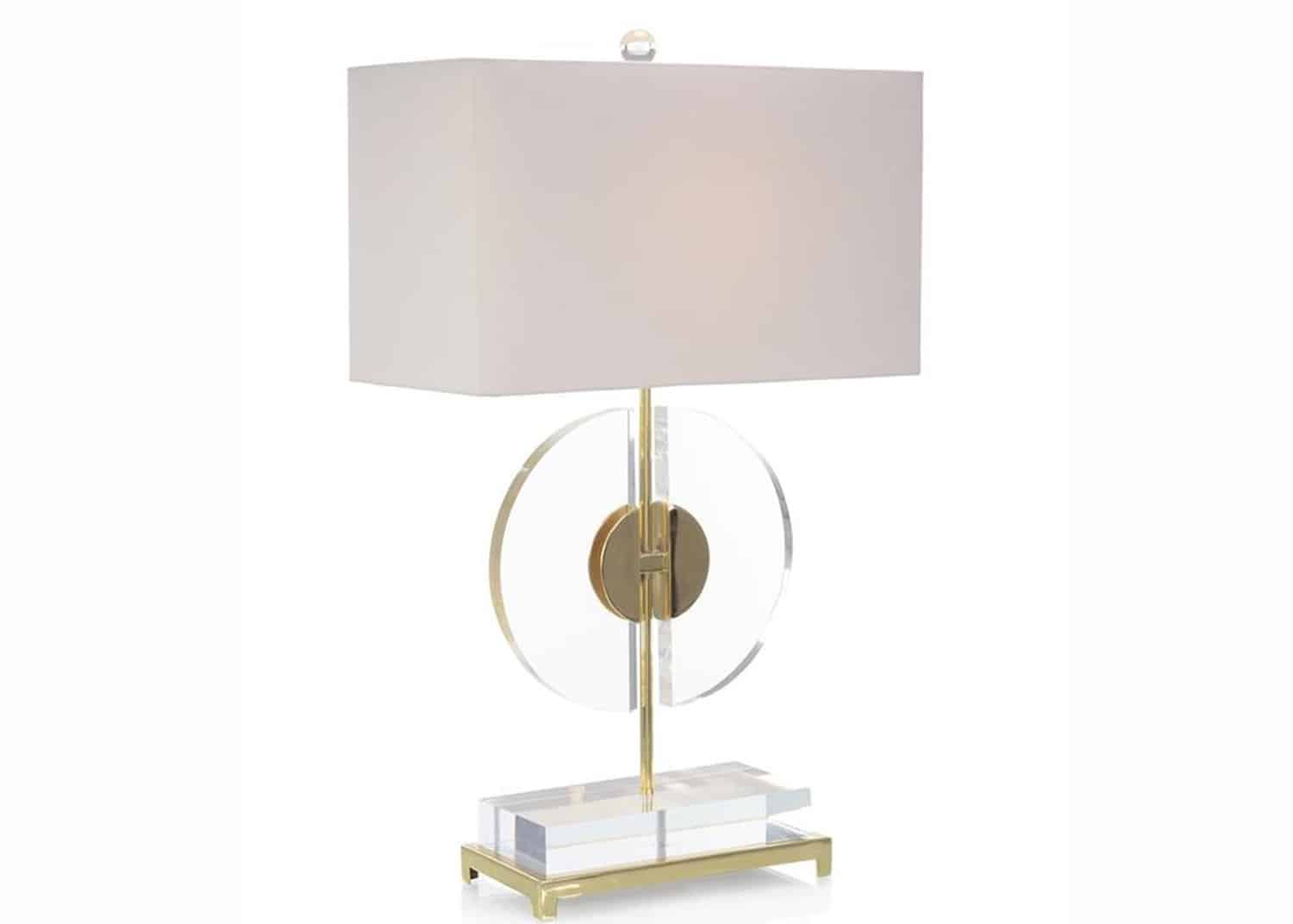 Architectural brass and acrylic lamp
