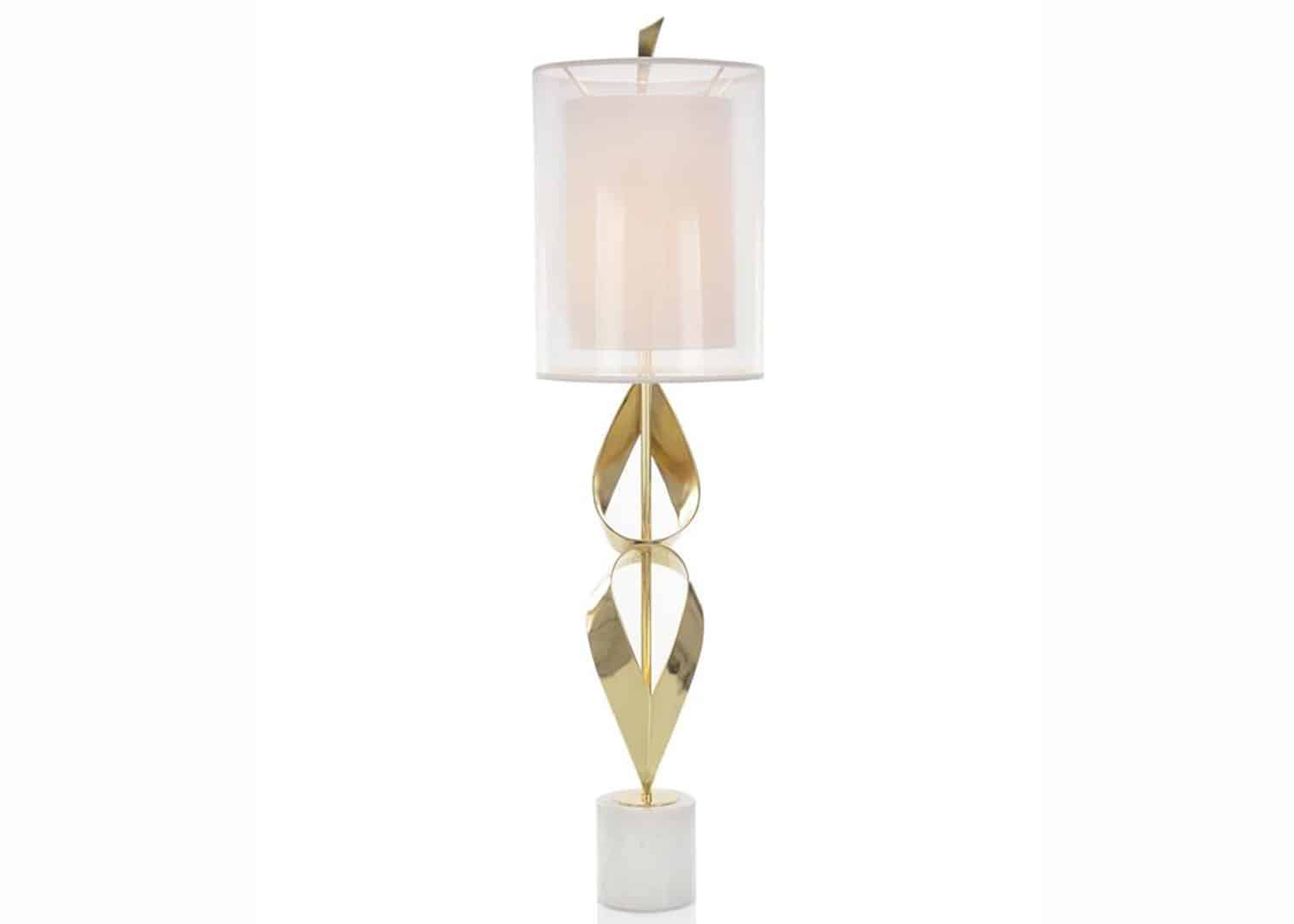 polished brass and marble table lamp