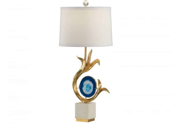 gold table lamp with blue agate