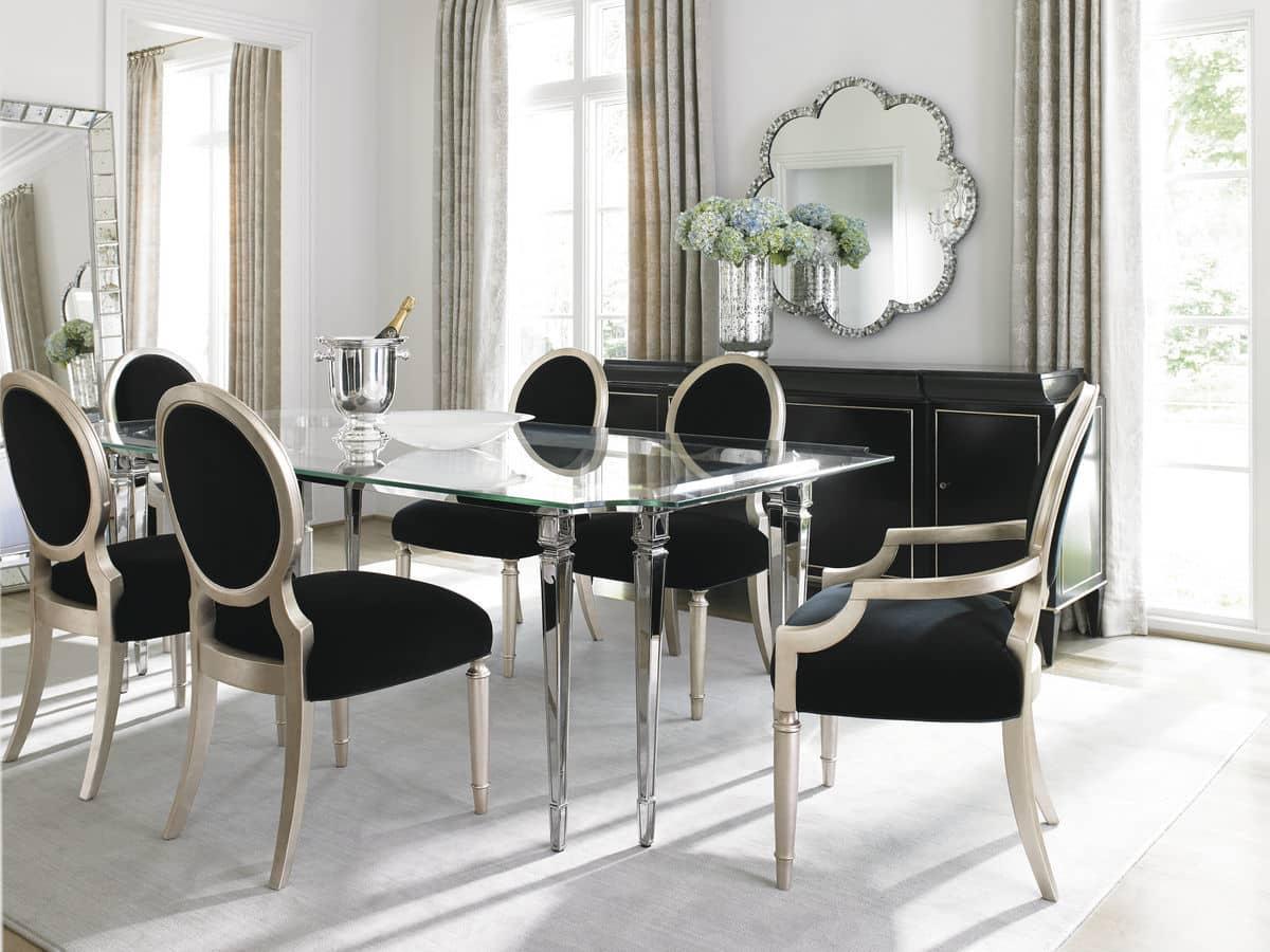 black velvet oval back dining arm chair