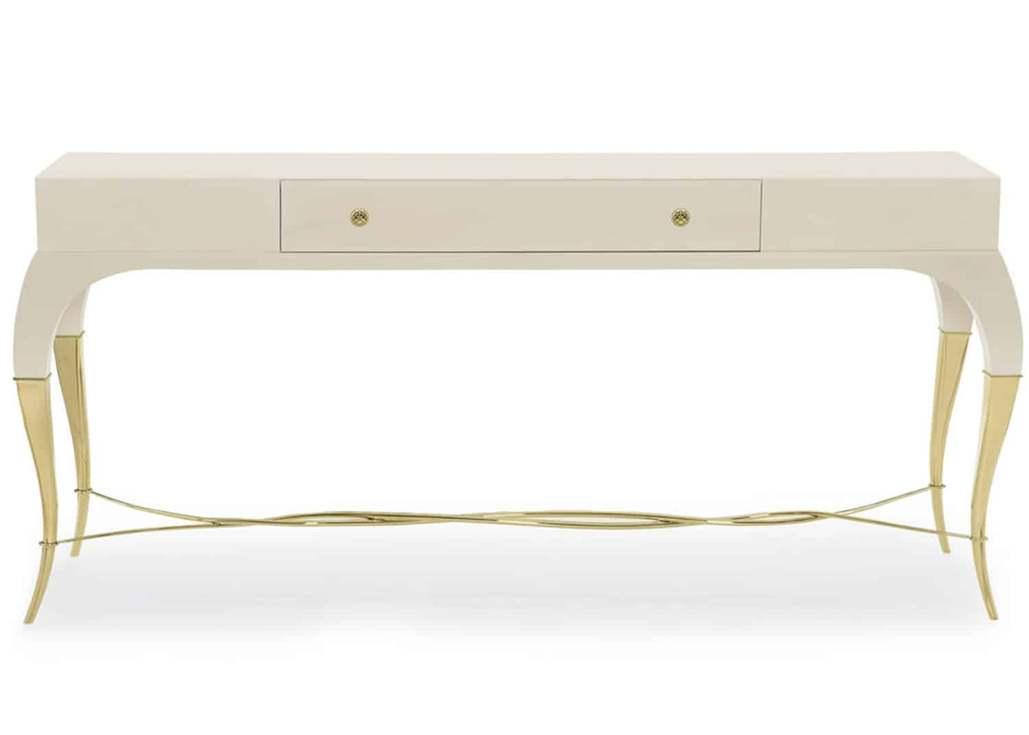 long white lacquered console