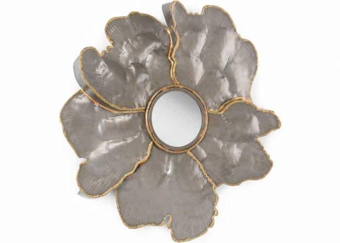 metallic flower mirror