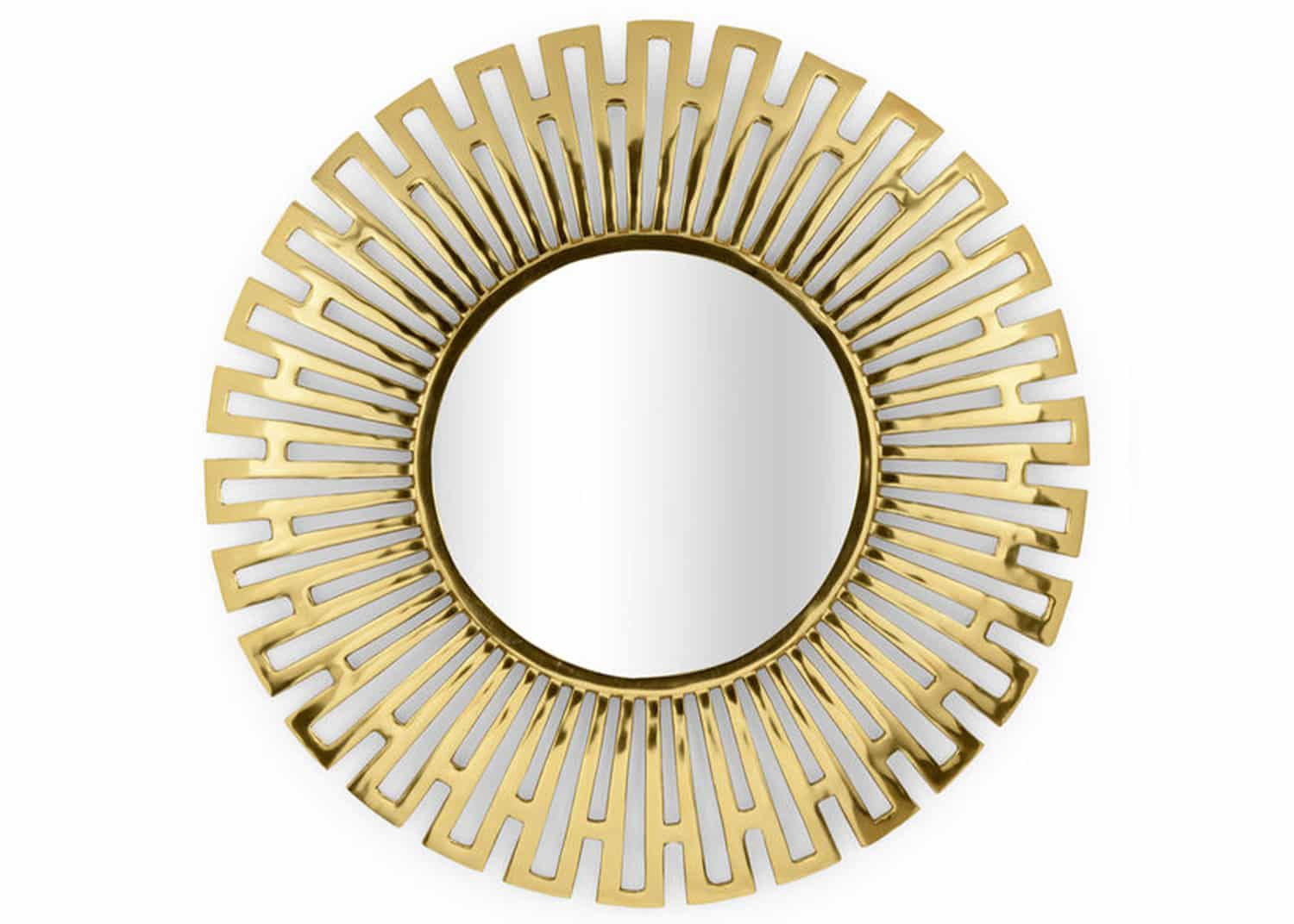 round polished brass mirror
