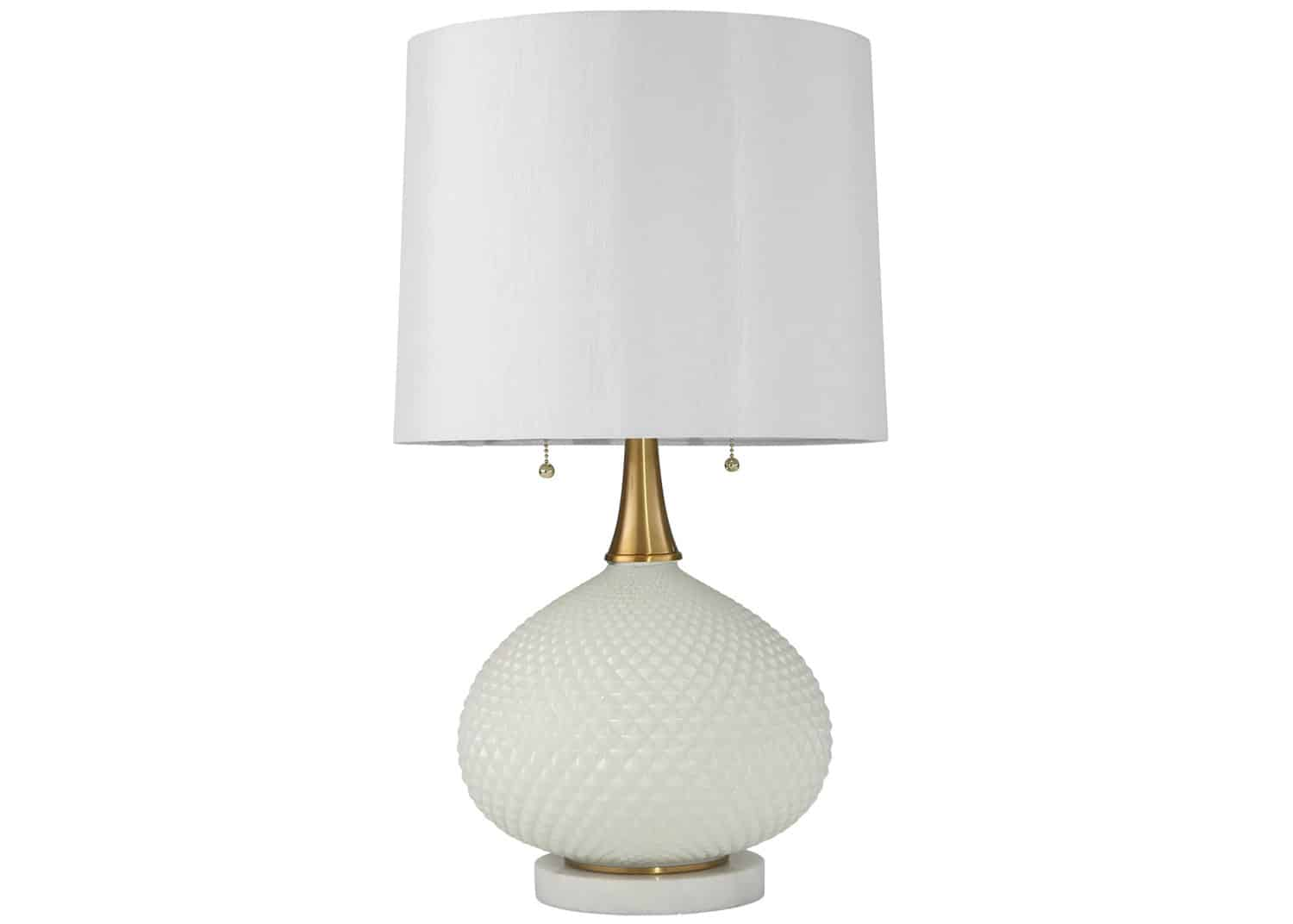 white glass accent lamp